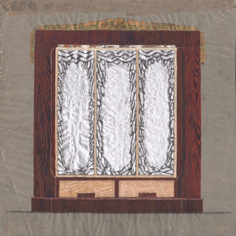 Armadio con ante decorate - tempera e tempera argento su carta da lucido - primi anni trenta - cm. 27x28