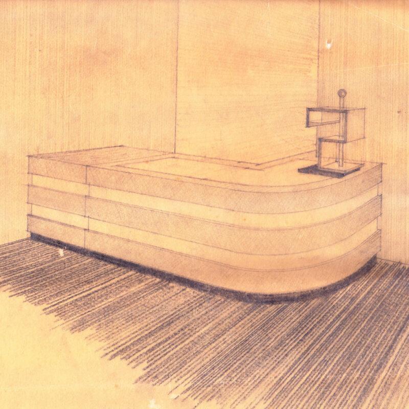 Bancone di servizio - matita su carta da lucido - primi anni venti - cm. 27x24