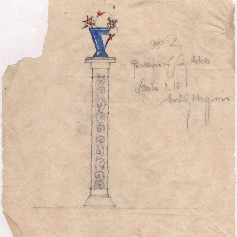 Colonna portafiori - matita e tempera su carta da lucido - primi anni venti - cm. 22x20,5