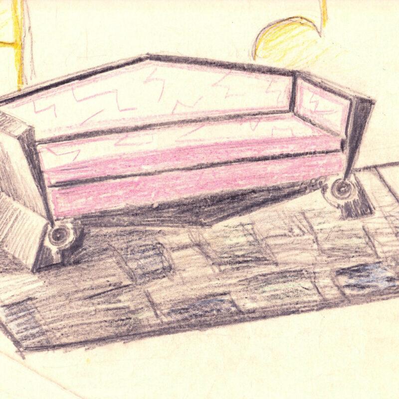 Divano - pastello su carta da lucido - primi anni venti - cm. 34x23