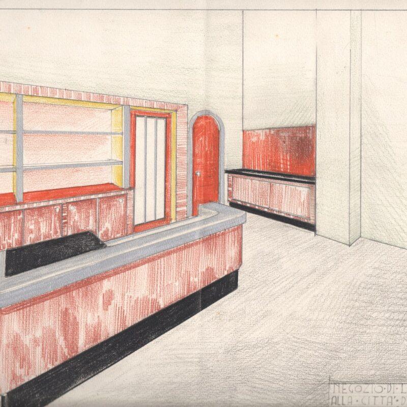 Ingresso di una rivendita di latte - pastello e tempera su carta - metà anni venti - cm. 49x33,5