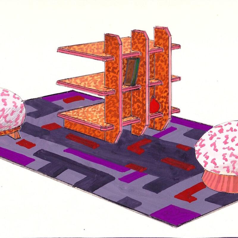 Piccola libreria con progetto di tappeto - tempera su carta - primi anni venti - cm. 34x25
