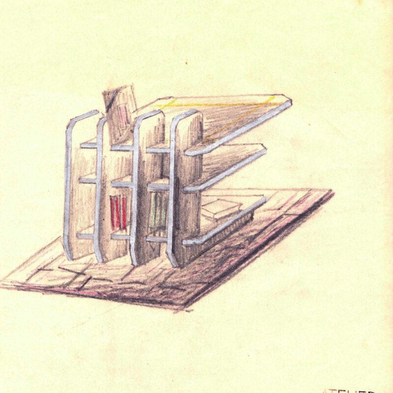 Piccola libreria - pastello e tempera su carta - metà anni venti - cm. 24x26