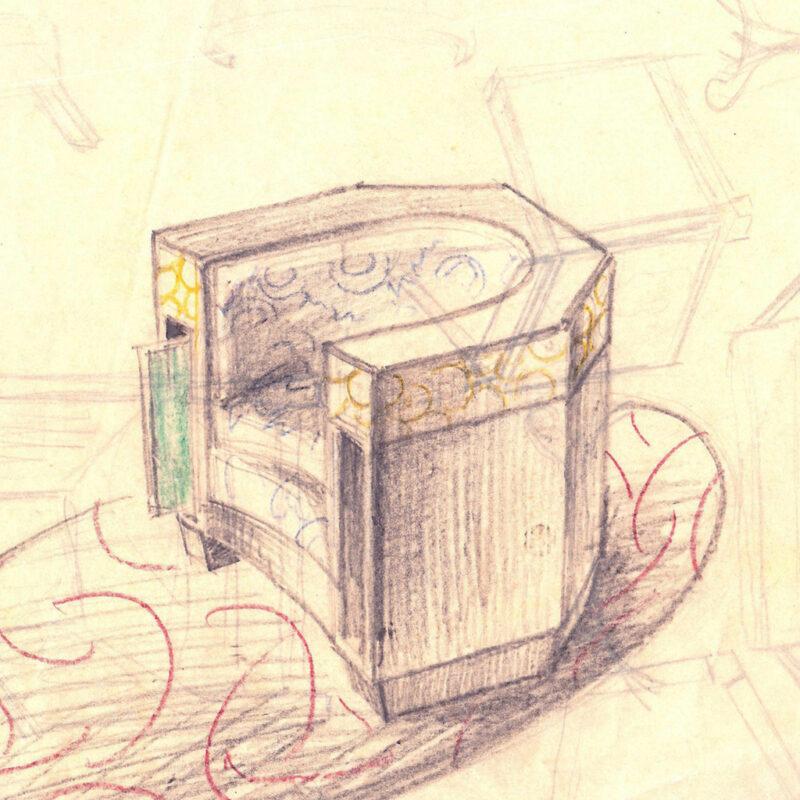 Poltrona - matita e pastello su carta da lucido - primi anni venti - cm. 27,5x24