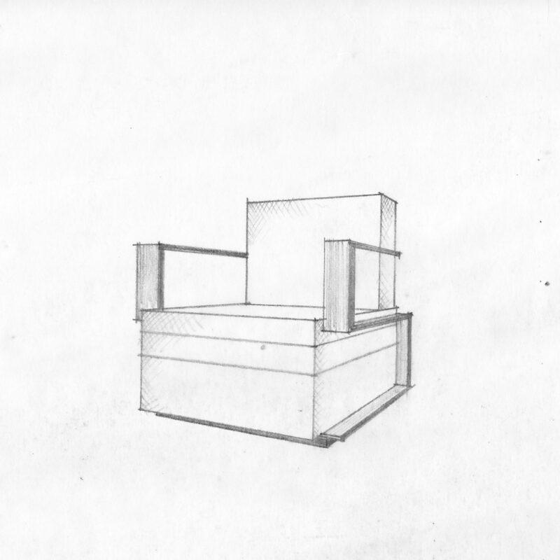 Poltrona - matita su carta da lucido - primi anni venti - cm. 27x21