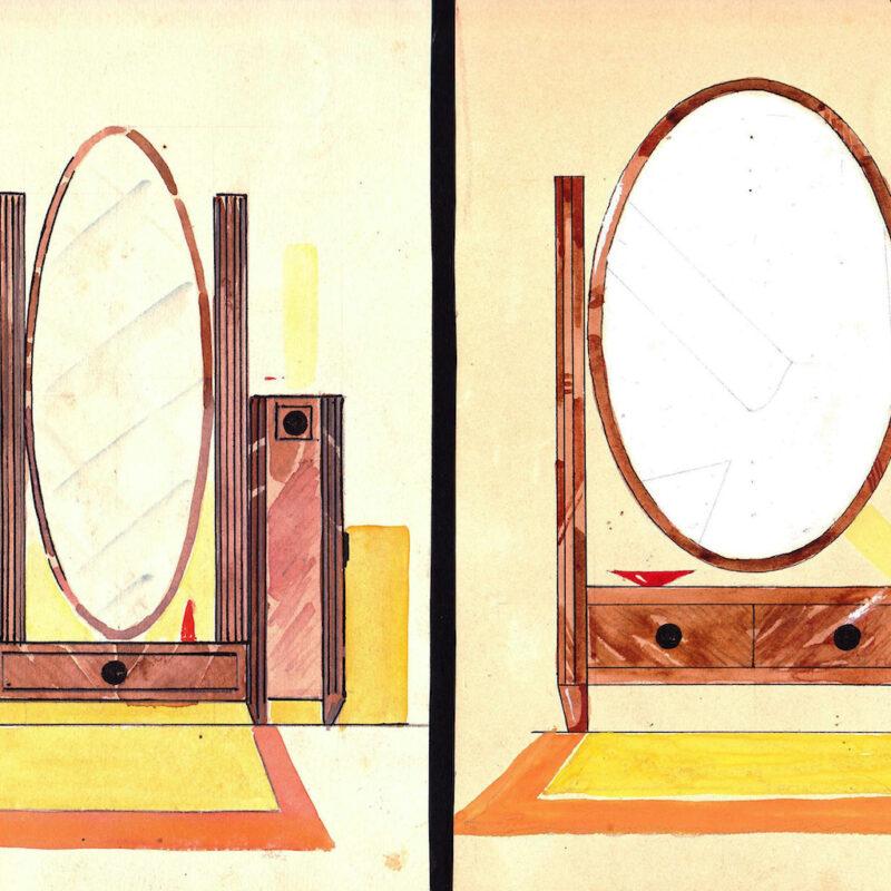 Specchi a psiche - inchiostro e acquarello su carta - fine anni venti - cm. 14,4x21 cad.