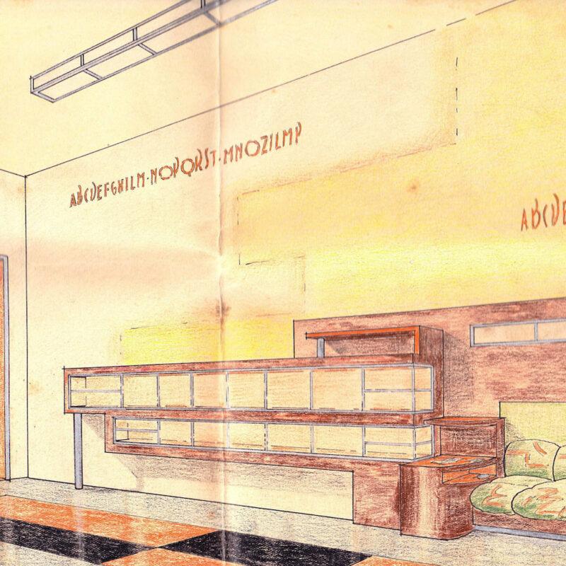 Studio di ingresso con grande libreria - matita e pastello su carta - primi anni venti - cm. 32x22