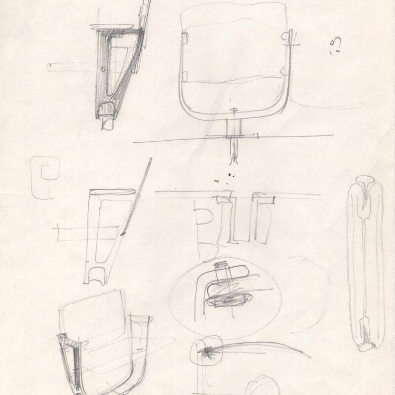 Studio per poltrona da ufficio - penna su carta - metà anni sessanta - cm. 21x29,5