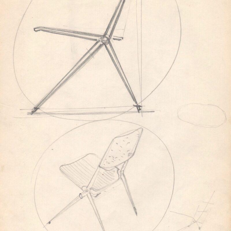 Studio per poltrona pieghevole - matita su carta - fine anni cinquanta - cm. 21x29,5