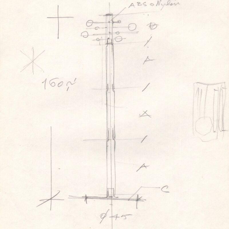 Studio per un appendiabiti - matita su carta - fine anni cinquanta - cm. 21x29,5