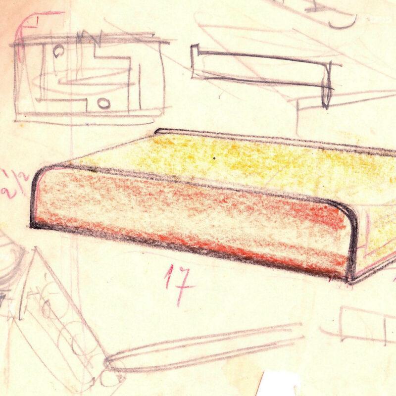 Studio per un letto - matita e pastello su carta da lucido - metà anni venti - cm. 33x18