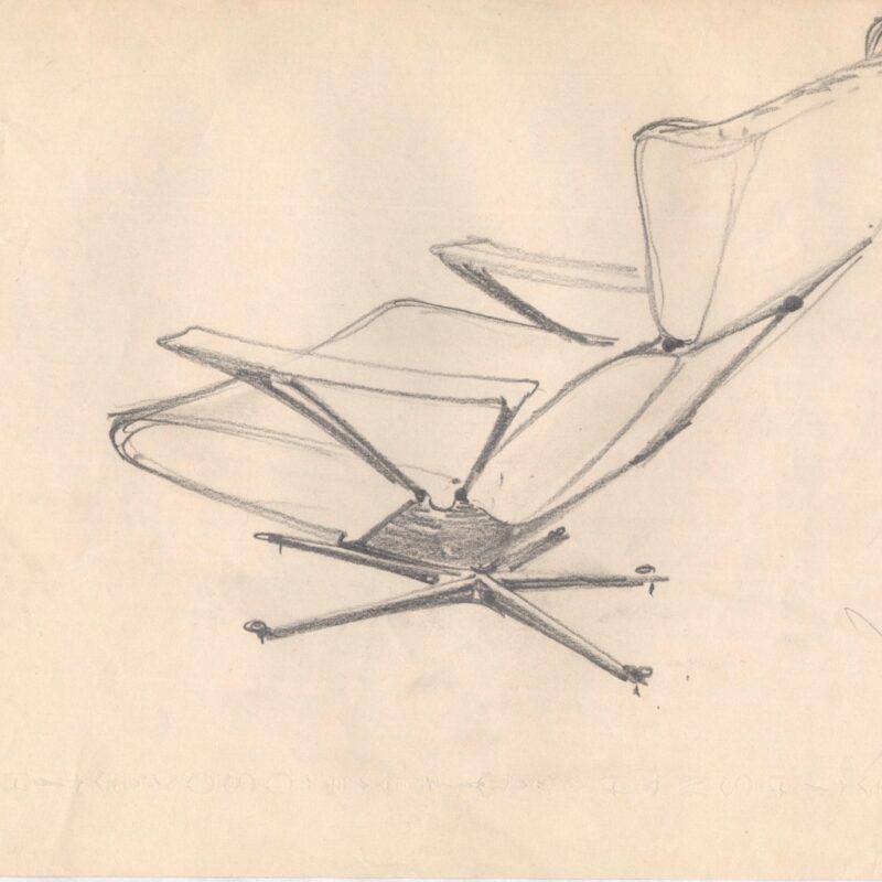 Studio per una poltrona - matita su carta - fine anni cinquanta - cm. 29,7x21