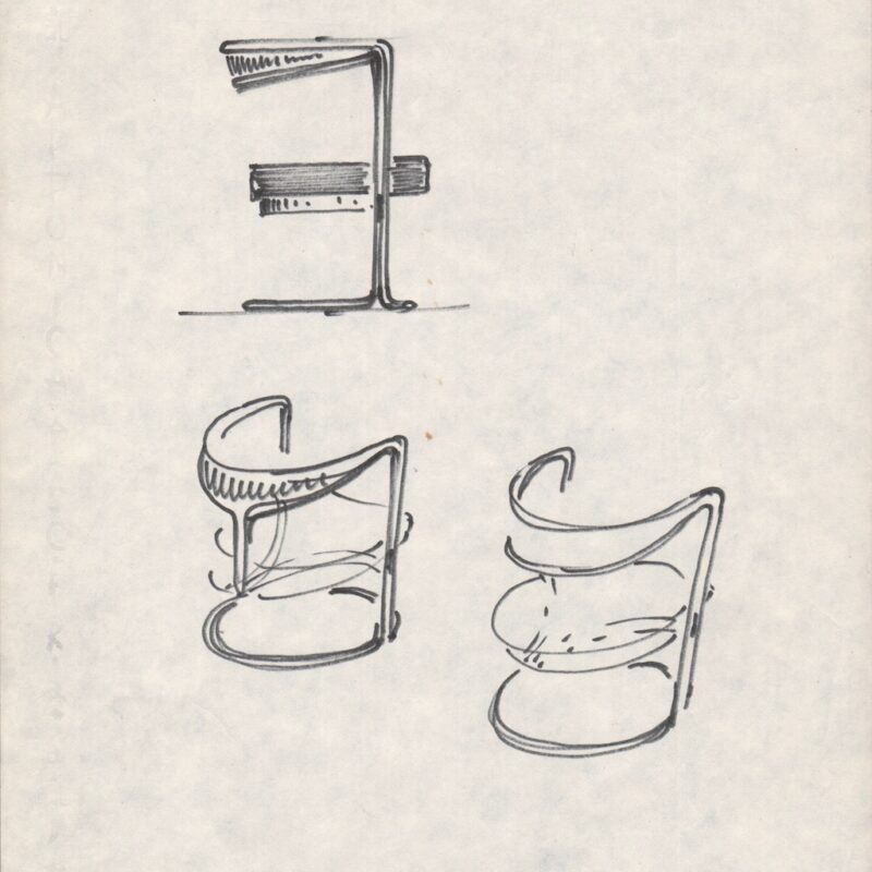 Studio per una poltroncina - matita su carta - primi anni sessanta - cm. 21x29,5