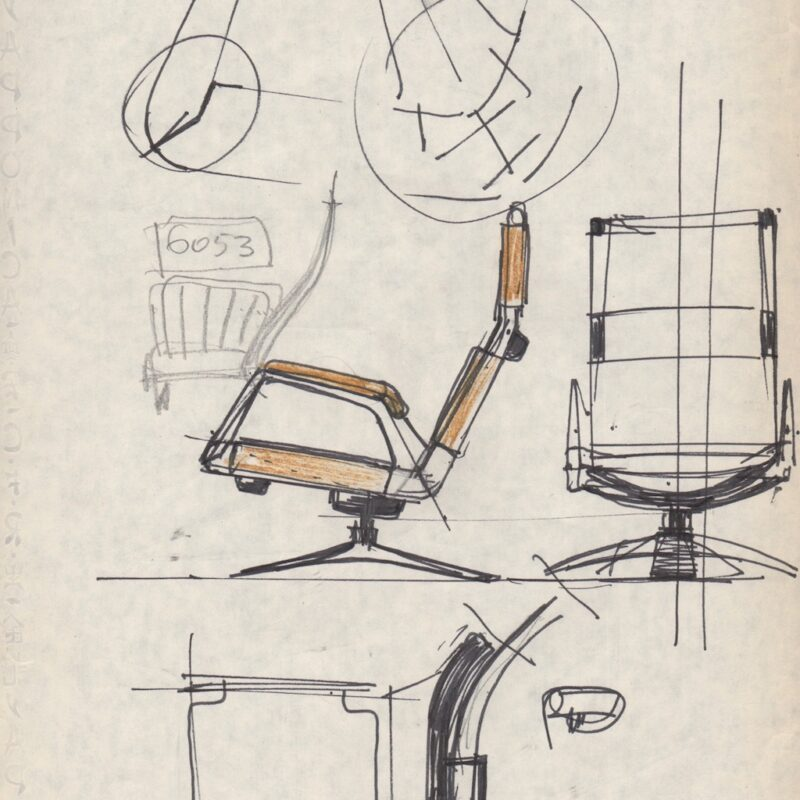 Studio poltrona IMI Roma - matita su carta - 1970 - cm. 21x29,5