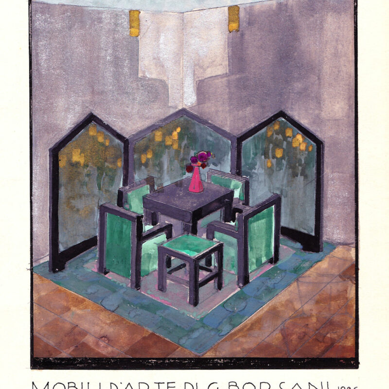 Tavolino con sgabelli e paravento - tempera su carta - anno 1926 - cm. 23x30,5