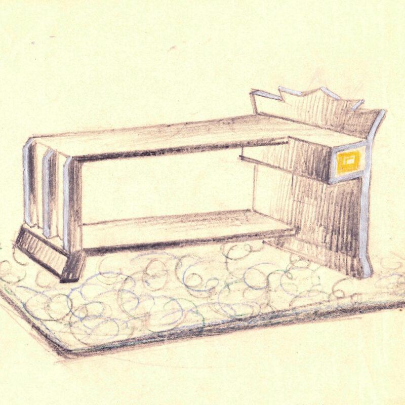 Tavolino di servizio - pastello e tempera su carta - primi anni venti - cm. 27x24