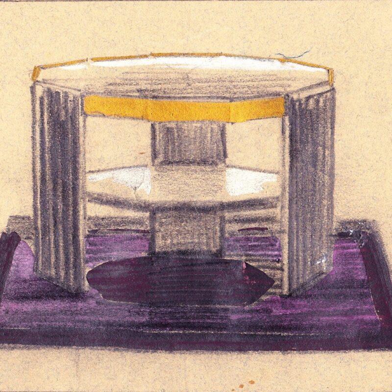 Tavolino - pastello e tempera su carta - primi anni venti - cm. 14,5x12