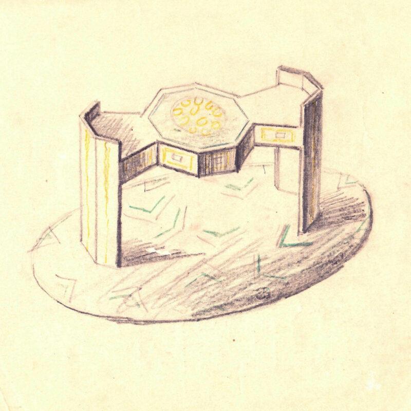 Tavolino - pastello su carta - primi anni venti - cm. 22x26
