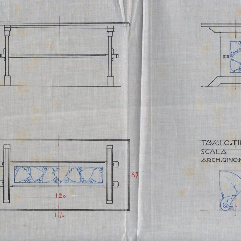 Tavolo con decori - inchiostro e matita su carta da lucido - primi anni venti - cm. 46x24