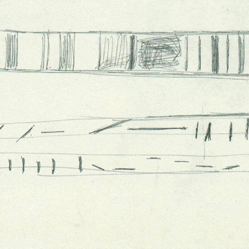 ianta e prospetto balaustra della sede Tecno a Milano