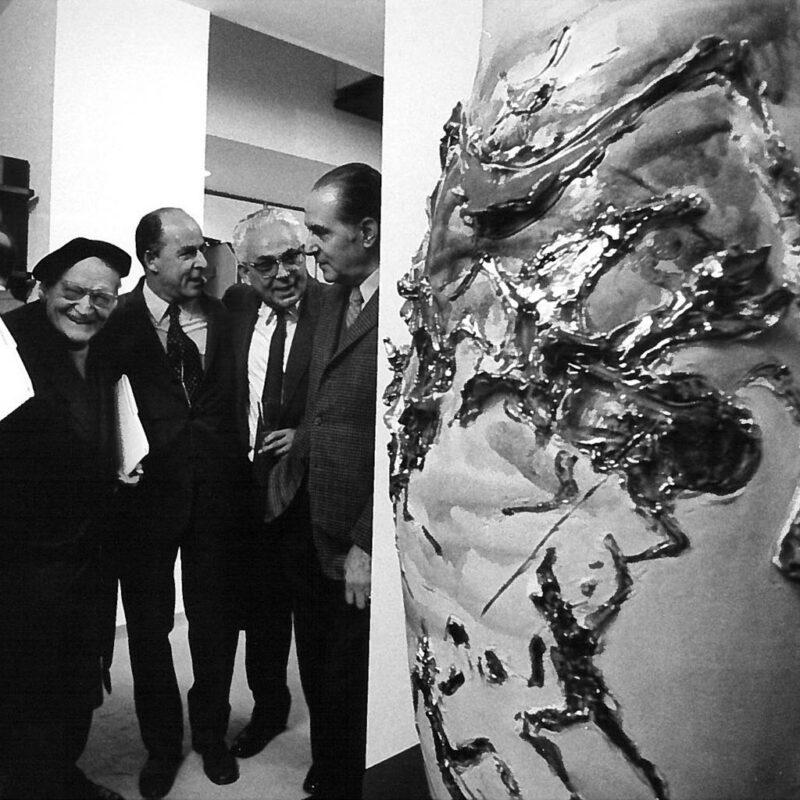 Marco Fantoni con Giuseppe Ungaretti e Leonardo Sinisgalli fotog
