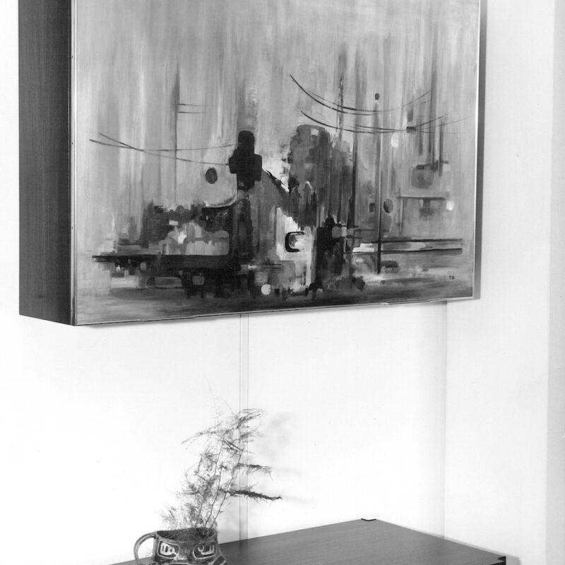 Mobile bar con anta scorrevole e dipinta