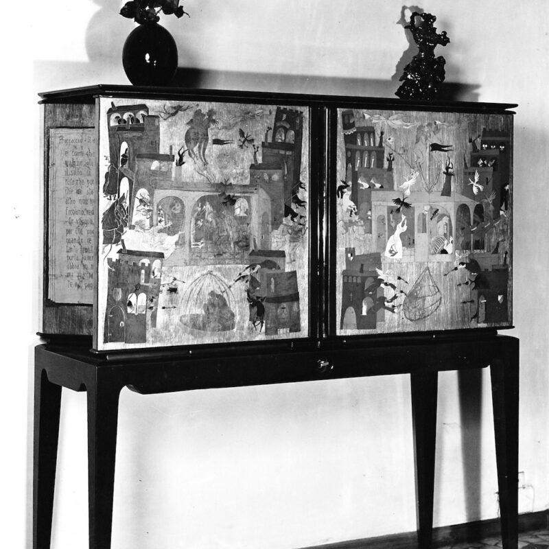 Mobile bar con sportello porta bicchieri, 1945