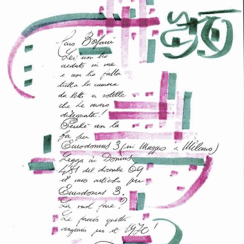 Lettera di Gio Ponti a Osvaldo Borsani