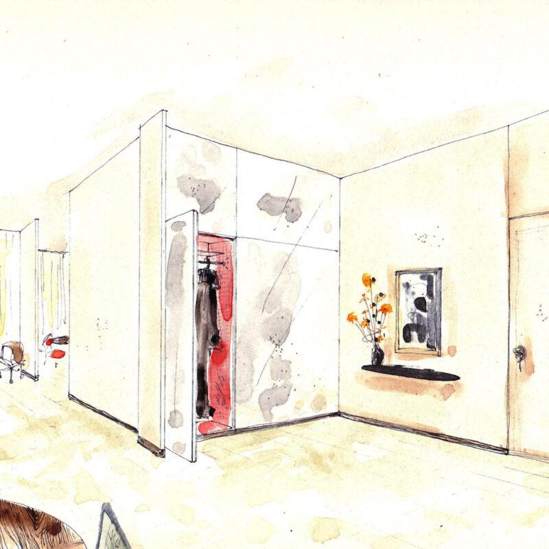 Ambiente ingresso - penna e acquarello su carta - anni cinquanta - cm. 32,5x24