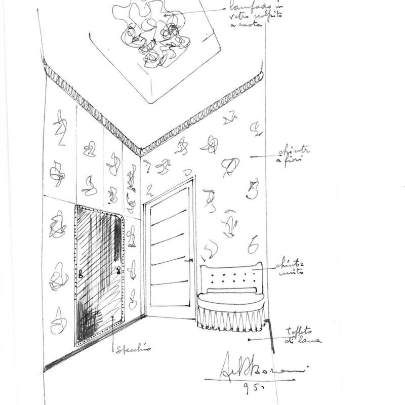 Angolo di soggiorno - matita e acquarello su carta - 1946 - cm. 25x17,5