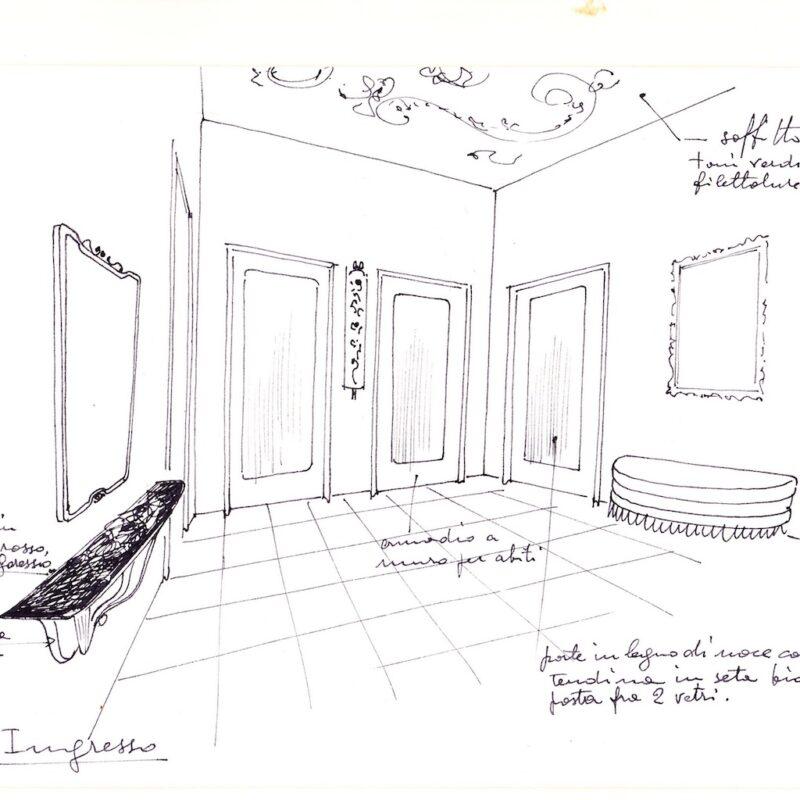 Angolo di un soggiorno - matita e acquarello su carta - 1950 - cm. 35x25