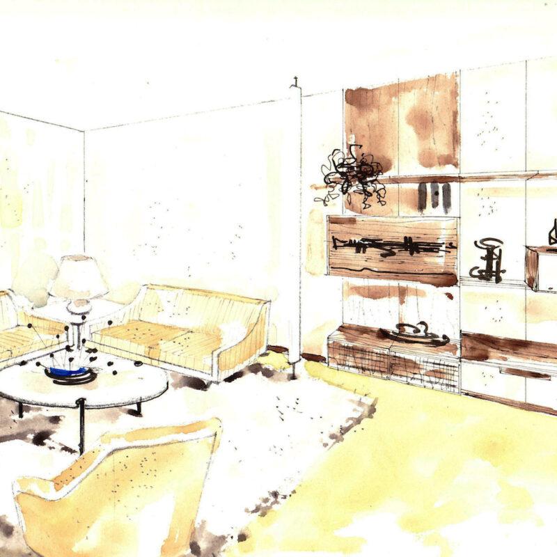 Angolo di un soggiorno - penna e acquarello su carta - anni cinquanta - cm. 32,5x24