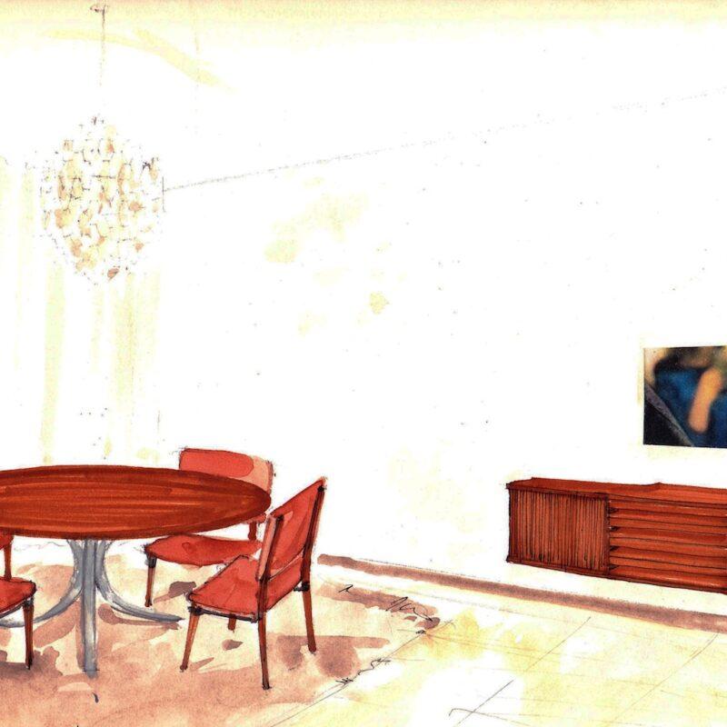 Angolo sala da pranzo - penna e acquarello su carta - anni cinquanta - cm. 32,5x24