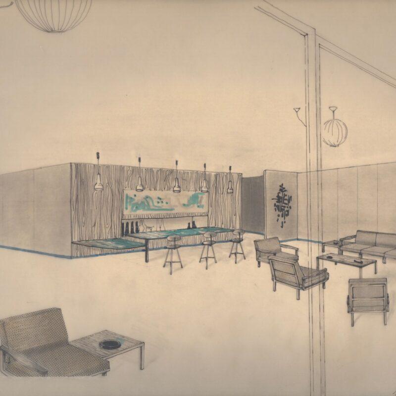 Angolo sala ristorante - penna e acquarello su carta - primi anni cinquanta - cm.32,5x24
