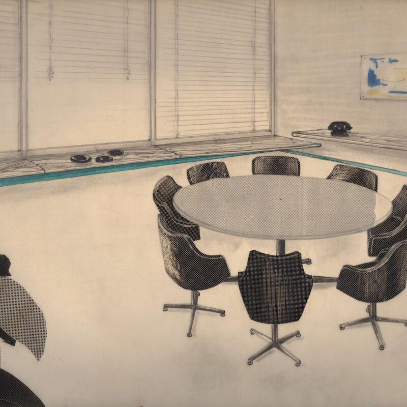 Angolo sala riunioni - tecnica mista e retino su carta da lucido - 1954 - cm. 43x32,5