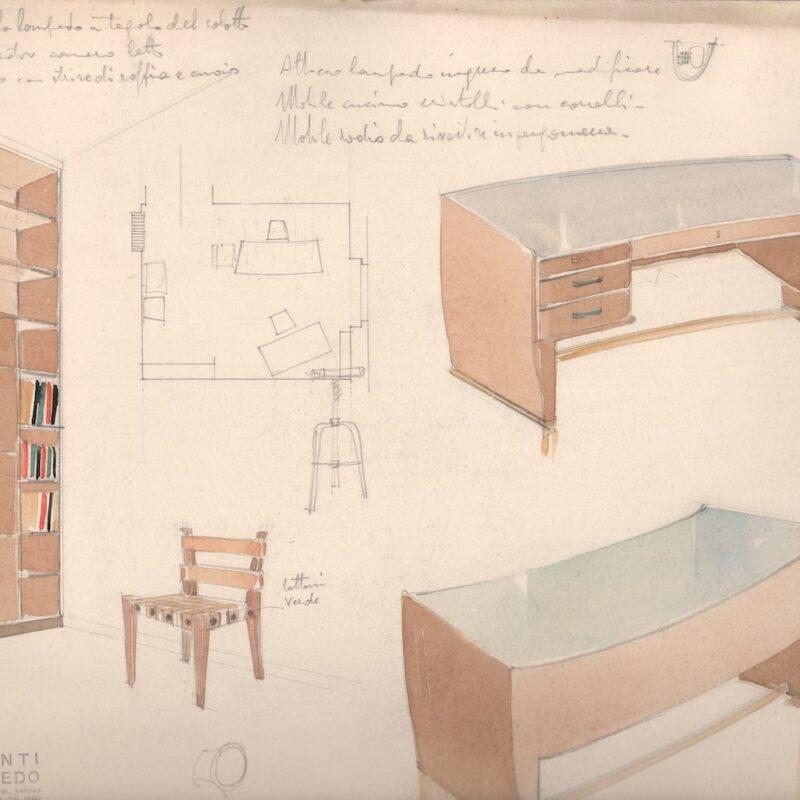 Arredi per ufficio - matita e acquarello su carta - fine anni trenta - cm. 48x32