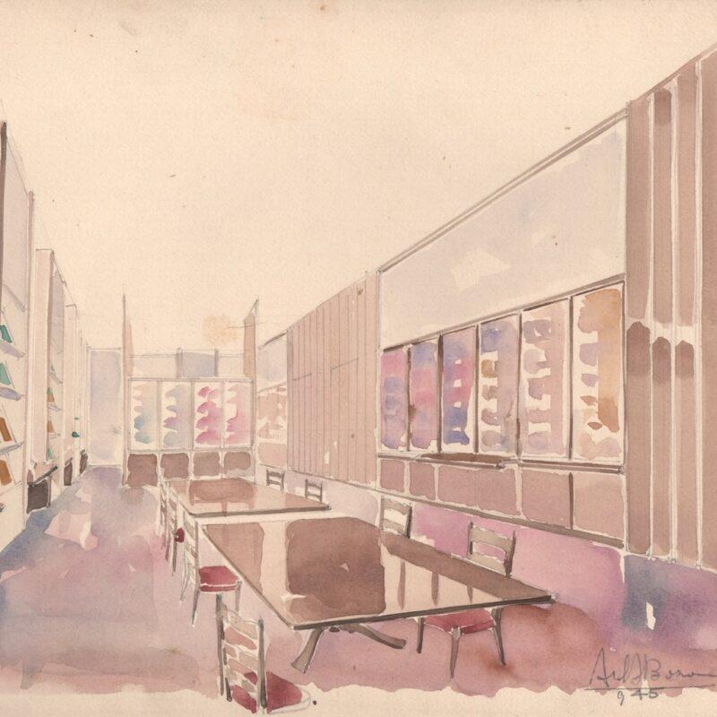 Biblioteca Farmitalia, via dei Gracchi Milano - acquarello e matita su cartoncino - 1945