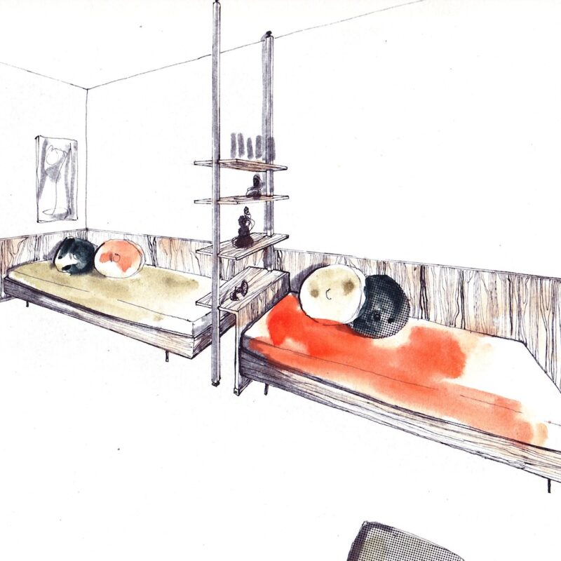 Camera con letti singoli e libreria divisioria- penna e acquarello su carta - anni cinquanta - cm. 32,5x24