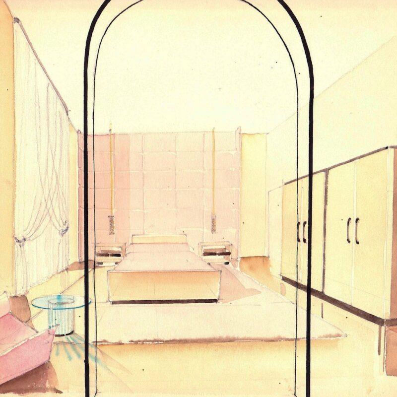Camera da letto - matita e acquarello su carta - anni trenta - cm. 24x24