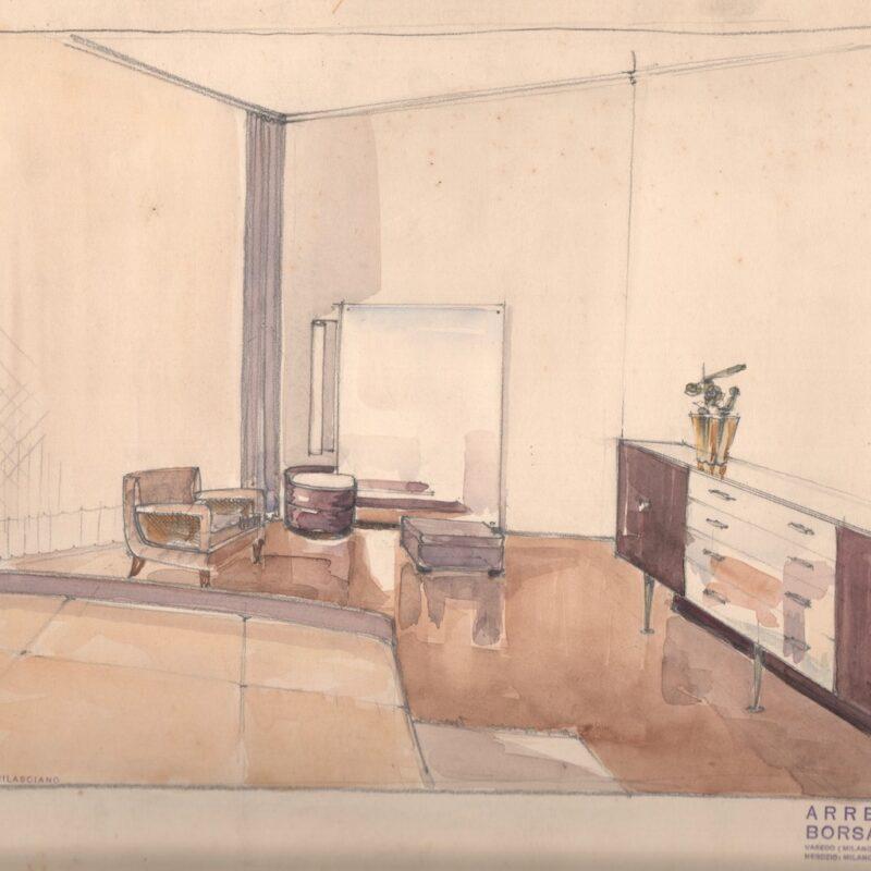 Camera da letto - matita e acquarello su carta - primi anni quaranta - cm. 50x32,5