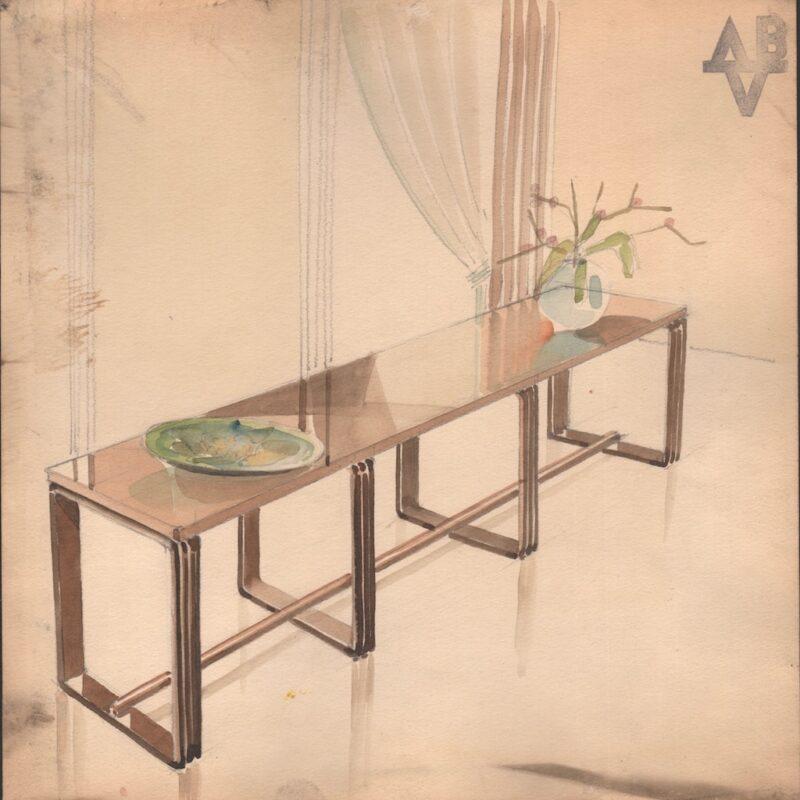 Consolle - matita e acquarello su carta - metà anni trenta - cm. 24x24