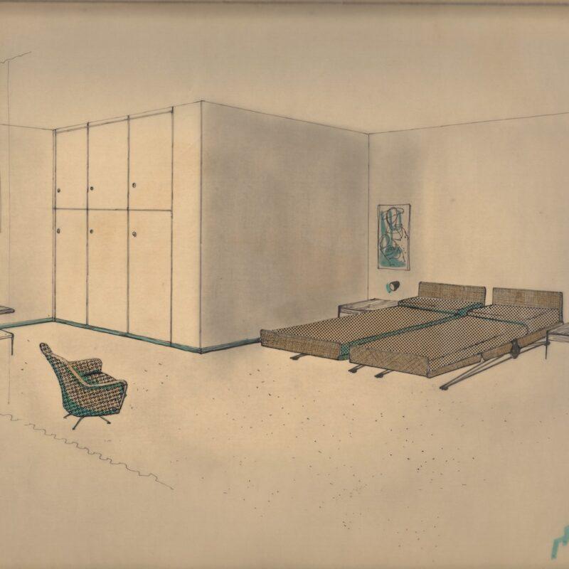 Dettaglio della foresteria - tecnica mista e retino su carta da lucido - 1954 - cm. 43x32,5