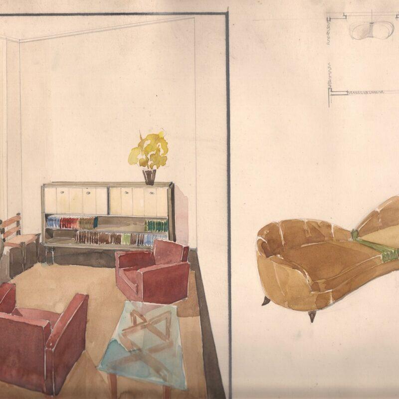Divano e arredi di un soggiorno - matita e acquarello su carta - fine anni trenta - cm. 47x32