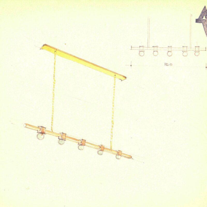 Lampada a sospensione - matita e acquarello su carta - anni trenta - cm. 24x24