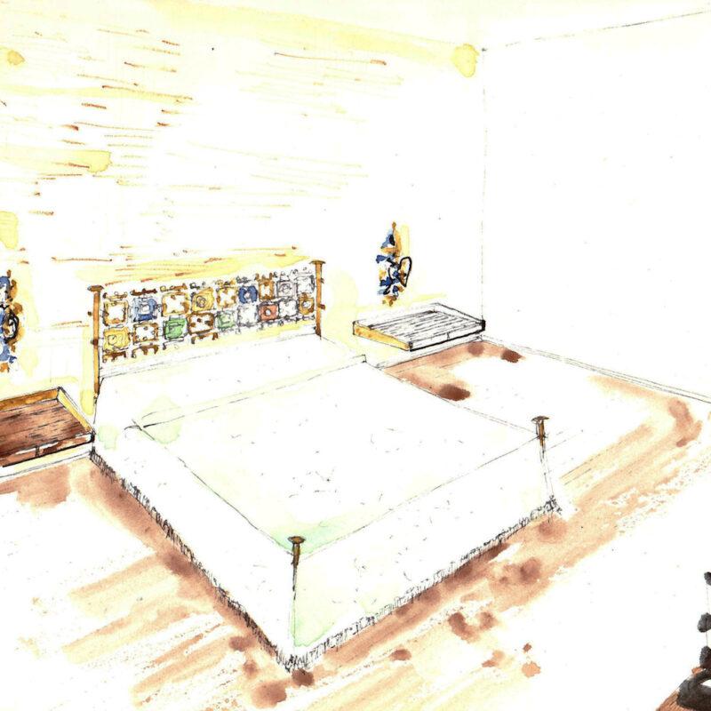 Letto con struttura in ottone, testata con piastre scultoree di Arnaldo Pomodoro - penna e acquarello su carta - primi anni cinquanta - cm. 32,5x24