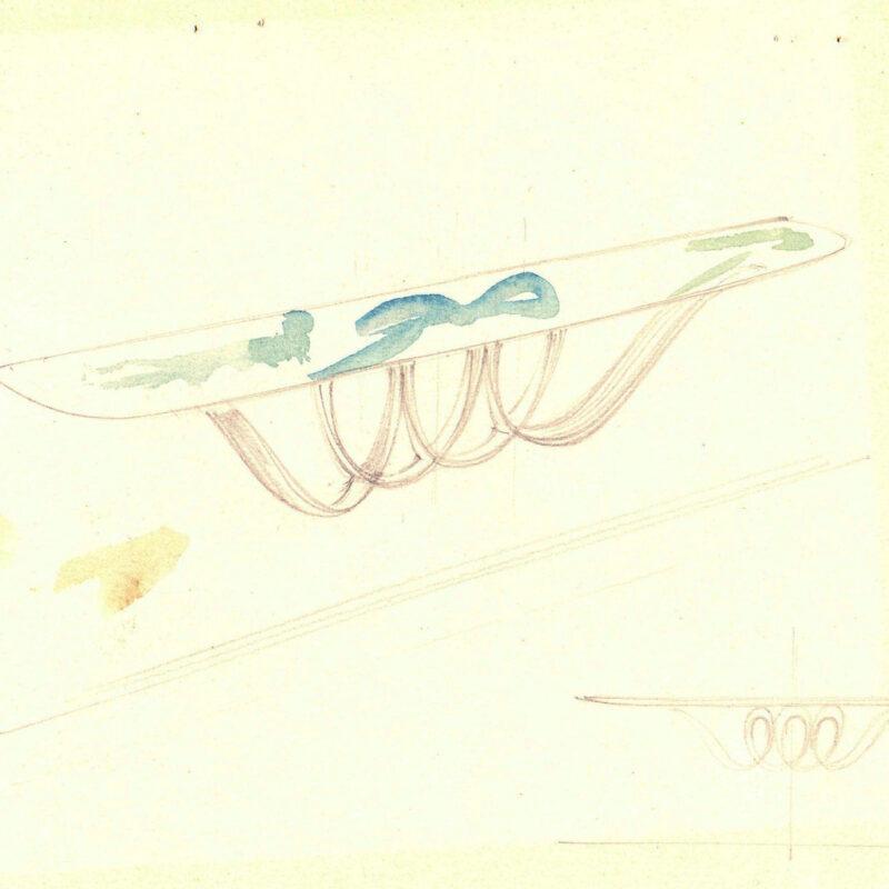 Mensola con piano in marmo - matita e acquarello su carta - fine anni trenta - cm. 25x17,5
