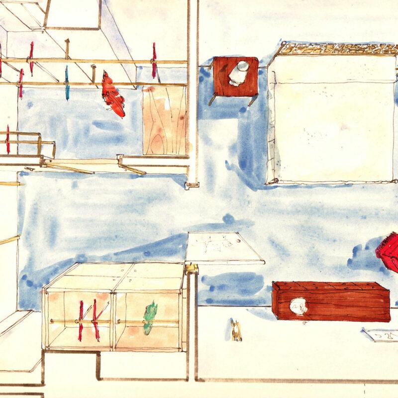 Pianta assonometrica di un interno - penna e acquarello su carta - anni cinquanta - cm. 32,5x24