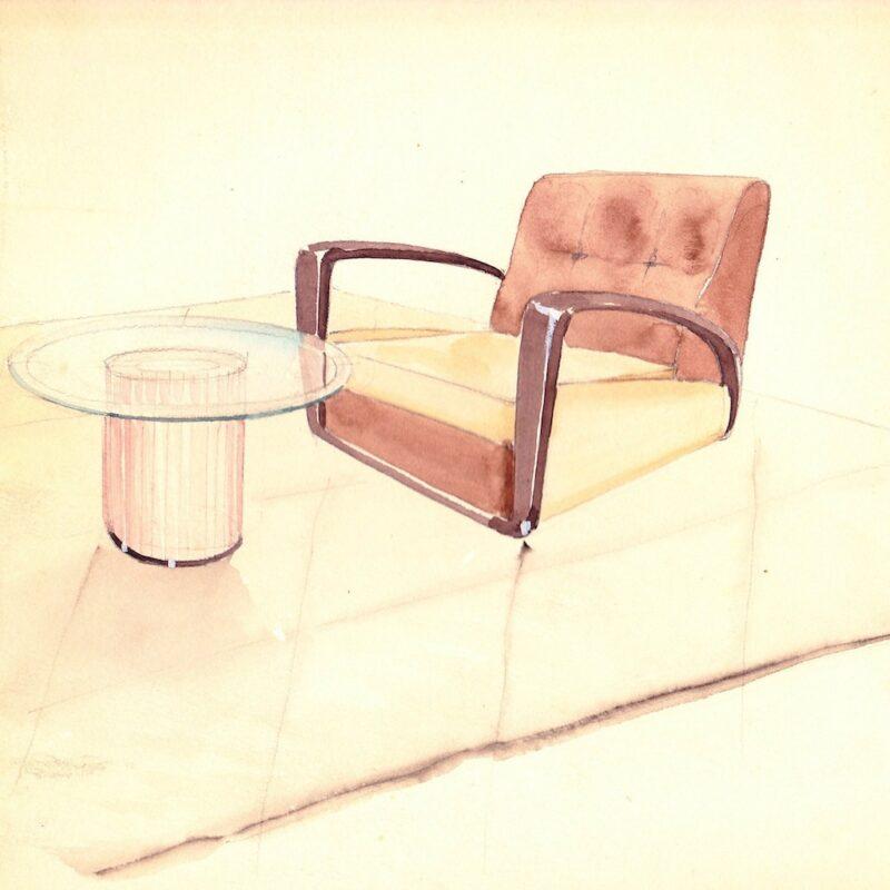 Poltrona e tavolino - matita e acquarello su carta - anni trenta - cm. 24x24