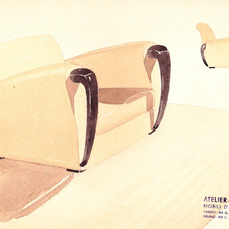 Poltrona - matita e acquarello su carta - anni trenta - cm. 30x24