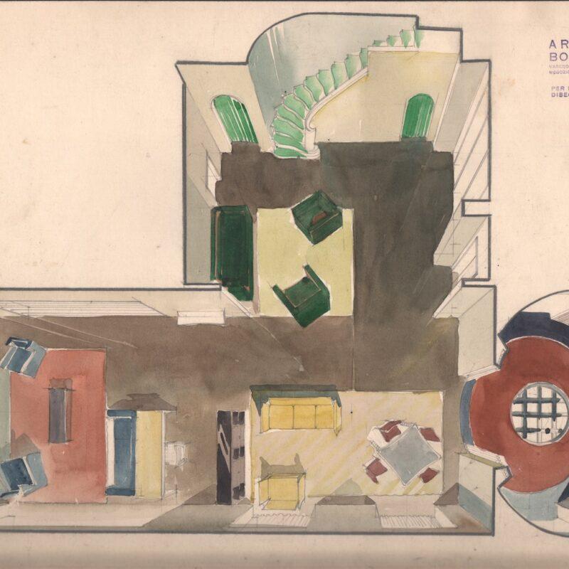 Progetto assonometrico di ambiente - matita e acquarello su carta - primi anni quaranta - cm. 48x31,5